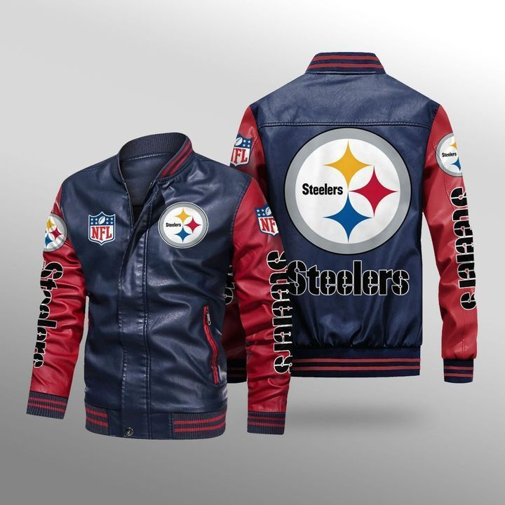 Pittsburgh Steelers Leather Bomber Jacket 4