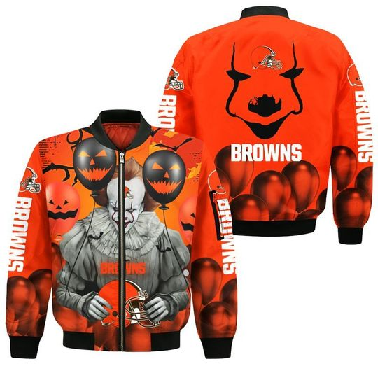 Cleveland browns pennywise the dancing clown it halloween 3d all over print hoodie3