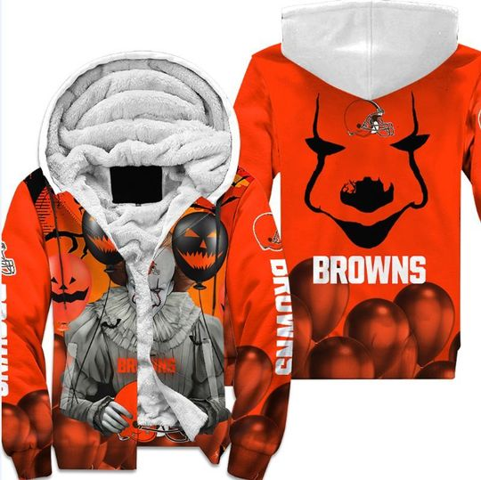Cleveland browns pennywise the dancing clown it halloween 3d all over print hoodie4