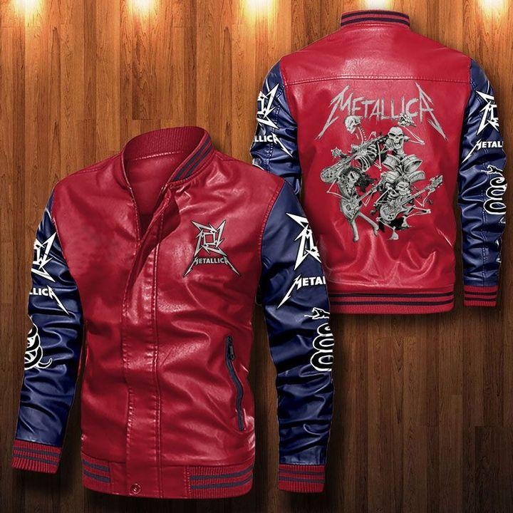 Metallica Simple Hard Rock Leather Bomber Jacket 2