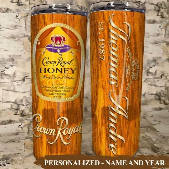 Crown Royal Honey Skinny Custom Name and Year Tumbler