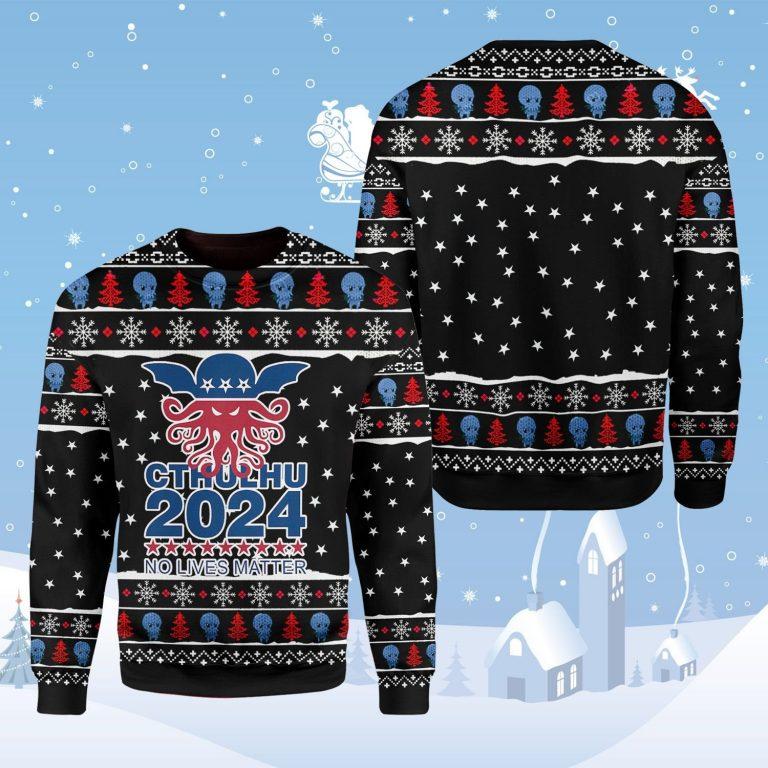 Cthulhu 2024 no lives matter Ugly Christmas Sweater