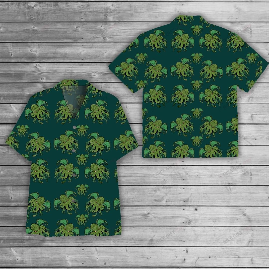 Cthulhu Pattern Hawaiian Shirt 1