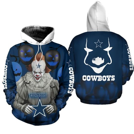 Dallas cowboys pennywise the dancing clown it halloween 3d all over print hoodie