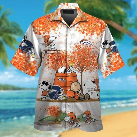 Denver broncos Snoopy autumn hawaiian shirtshort1