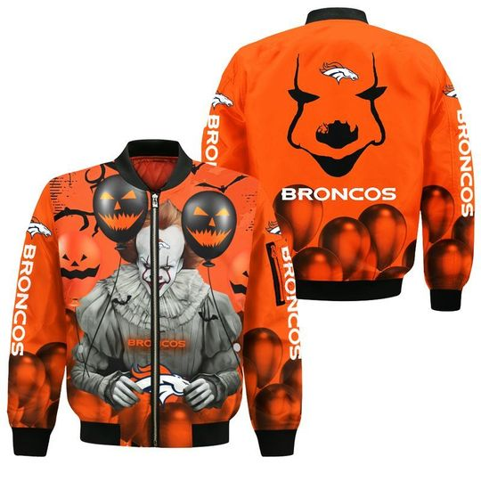 Denver broncos pennywise the dancing clown it halloween 3d all over print hoodie3