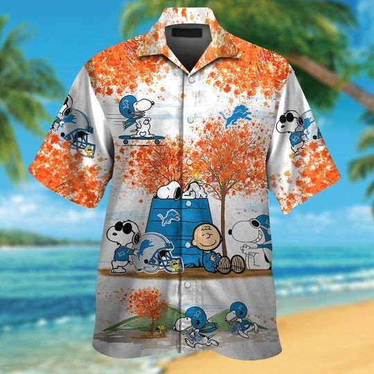 Detroit lions Snoopy autumn hawaiian shirtshort1