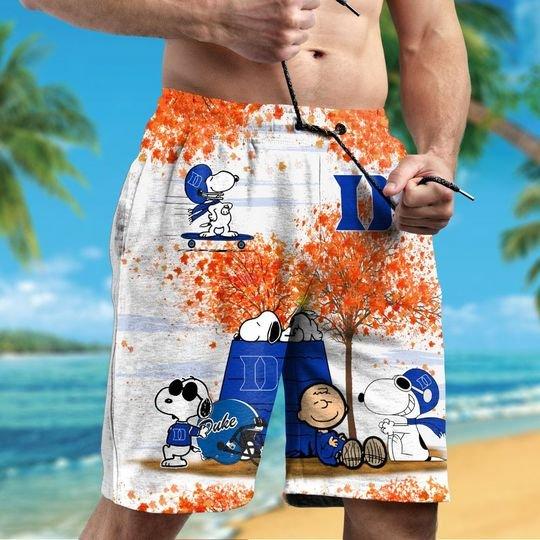 Duke Blue Devils Snoopy autumn hawaiian shirtshort2