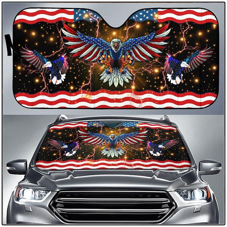 Eagle American Flag Car Sunshade 1