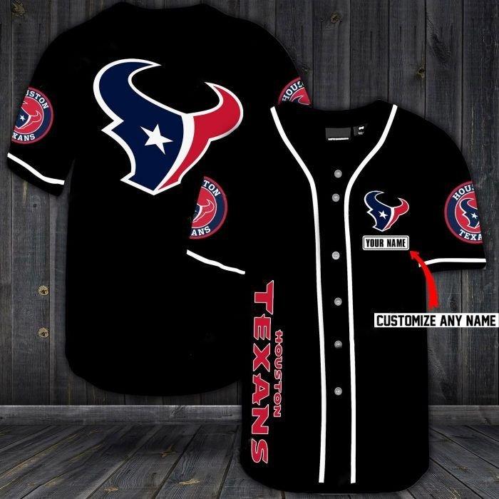 Nfl houston texans custom name baseball jersey shirt