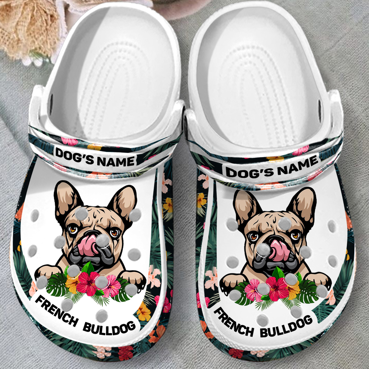 French Bull dogs custom name crocband clog shoes 1