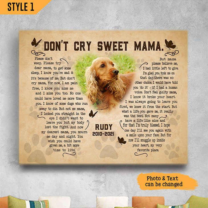 Golden Retriever Dont Cry Sweet Mama Custom Name And Photo Poster And Canvas