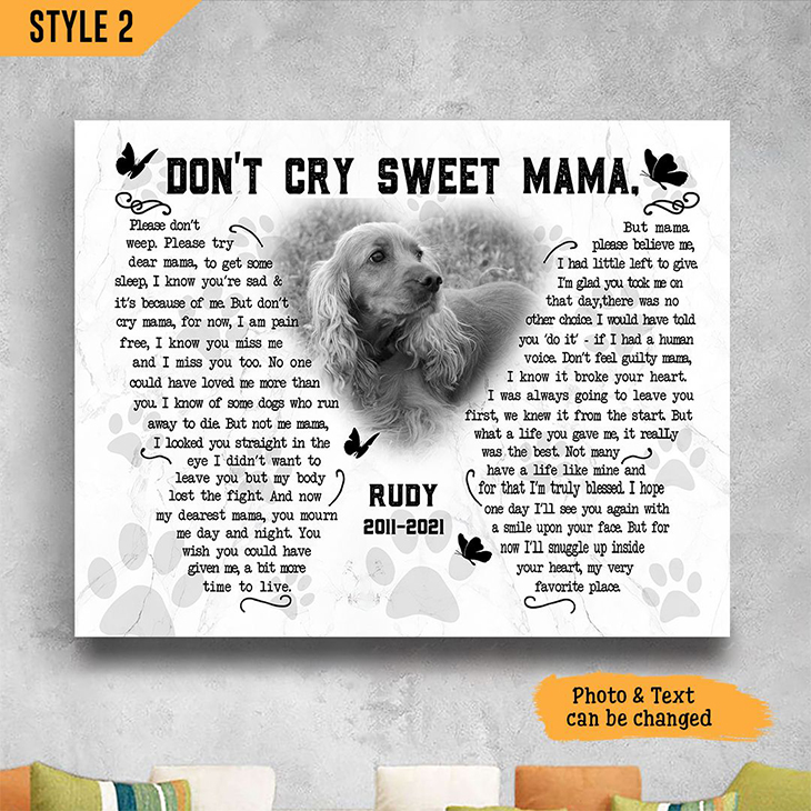 Golden Retriever Dont Cry Sweet Mama Custom Name And Photo Poster And Canvas1