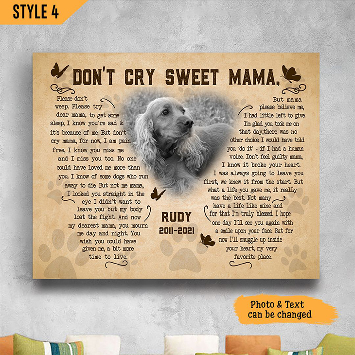 Golden Retriever Dont Cry Sweet Mama Custom Name And Photo Poster And Canvas3