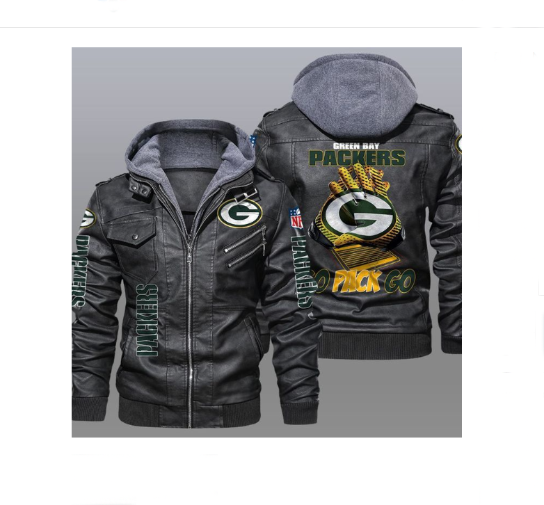 Green Bay Packers Go Back Go Leather Jacket3