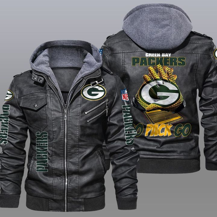 Green Bay Packers Go Pack Go Leather Jacket