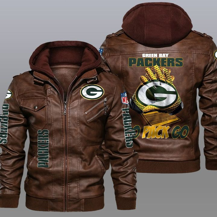 Green Bay Packers Go Pack Go Leather Jacket1