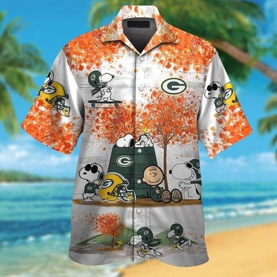 Green bay packers Snoopy autumn hawaiian shirtshort1