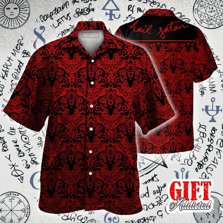 Hail Satan demon black and red pattern Hawaiian shirt