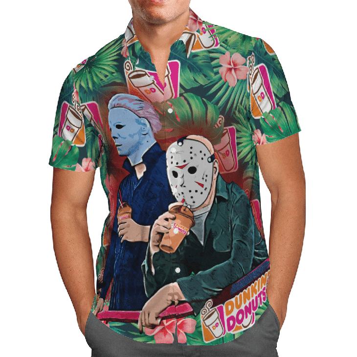 Halloween Dunkins Jason Voorhees Michael Myers Hawaiian Shirt1