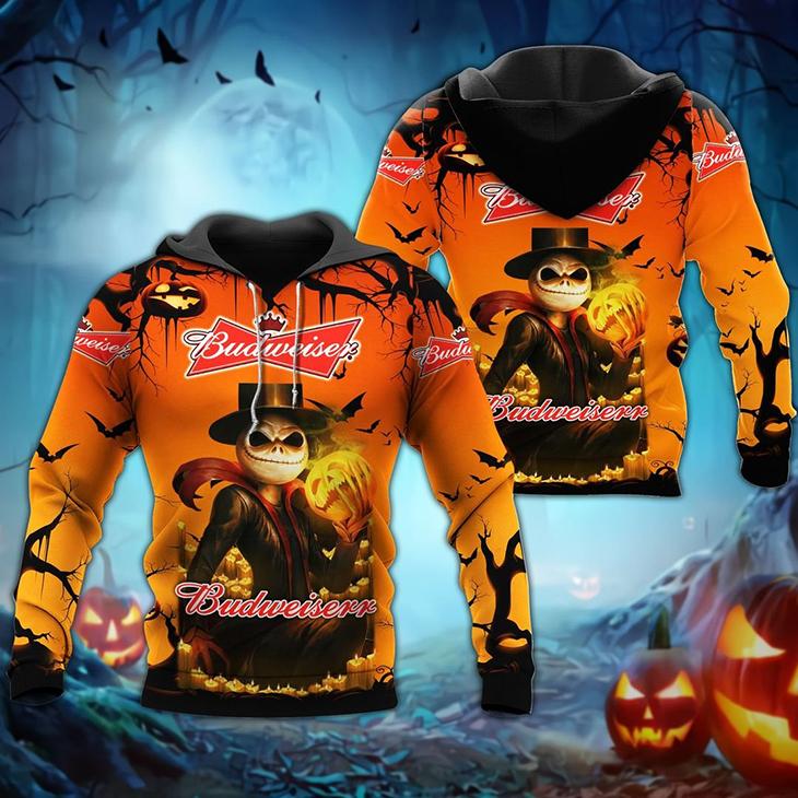 Halloween Jack Skellington Budweiser Logo 3D Hoodie Shirt