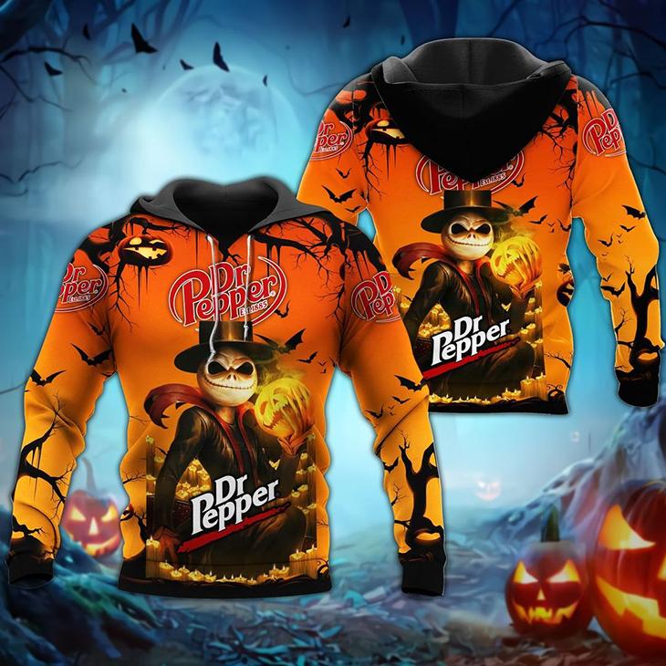 Halloween Jack Skellington Dr Pepper Est 1885 Logo 3D Hoodie Shirt