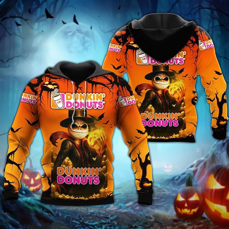 Halloween Jack Skellington Dunkin Donuts Logo 3D Hoodie Shirt