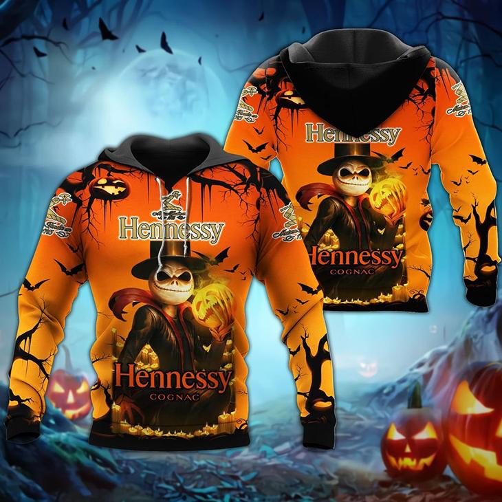 Halloween Jack Skellington Hennessy Logo 3D Hoodie Shirt
