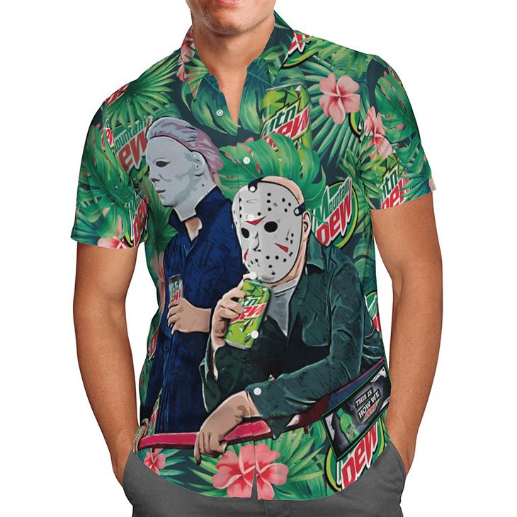 Halloween Mtn Dew Jason Voorhees Michael Myers Hawaiian Shirt1