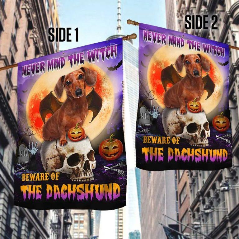 Halloween Skull Beware Of The Dachshund flag 2