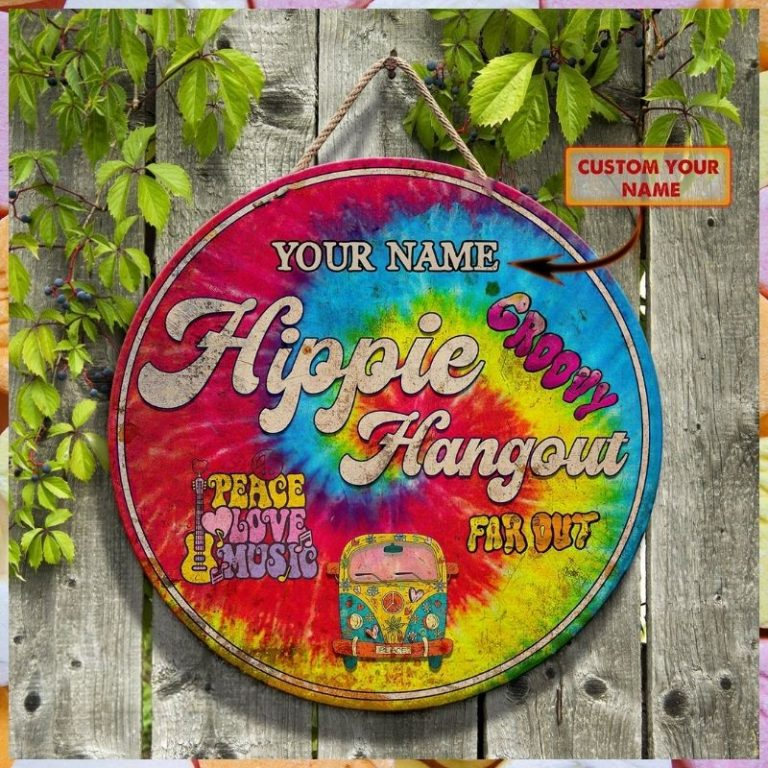 Hippie bus groovy hang out peace love music custom personalized name wooden sign 1