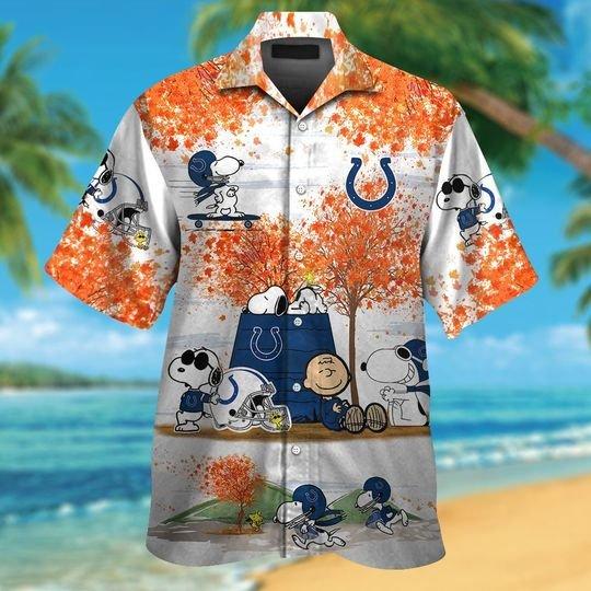 Indianapolis Colts Snoopy autumn hawaiian shirtshort1