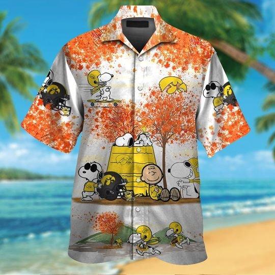 Iowa hawkeyes Snoopy autumn hawaiian shirtshort1