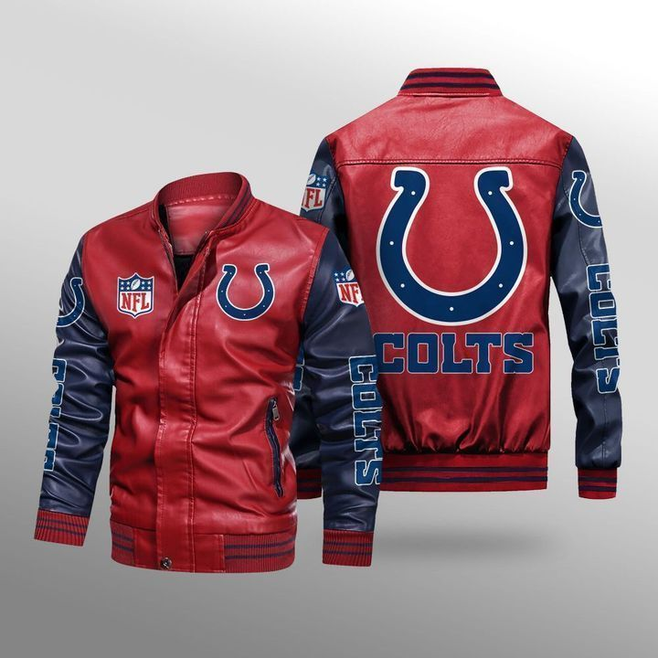 Indianapolis Colts Leather Bomber Jacket 2
