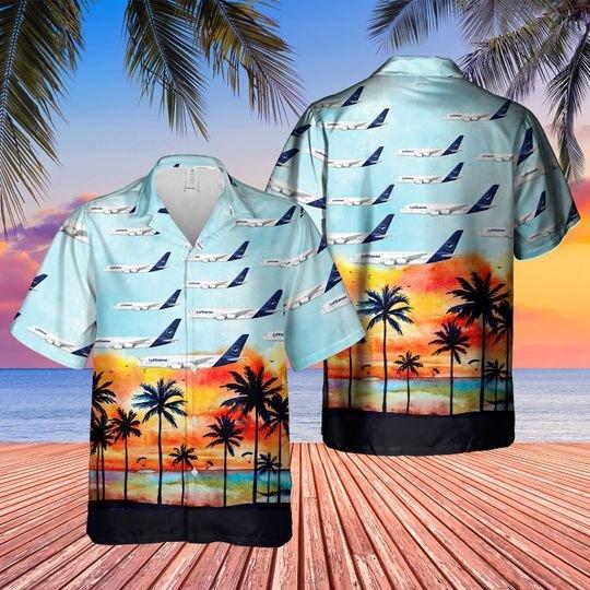 German lufthansa plane hawaiian shirt