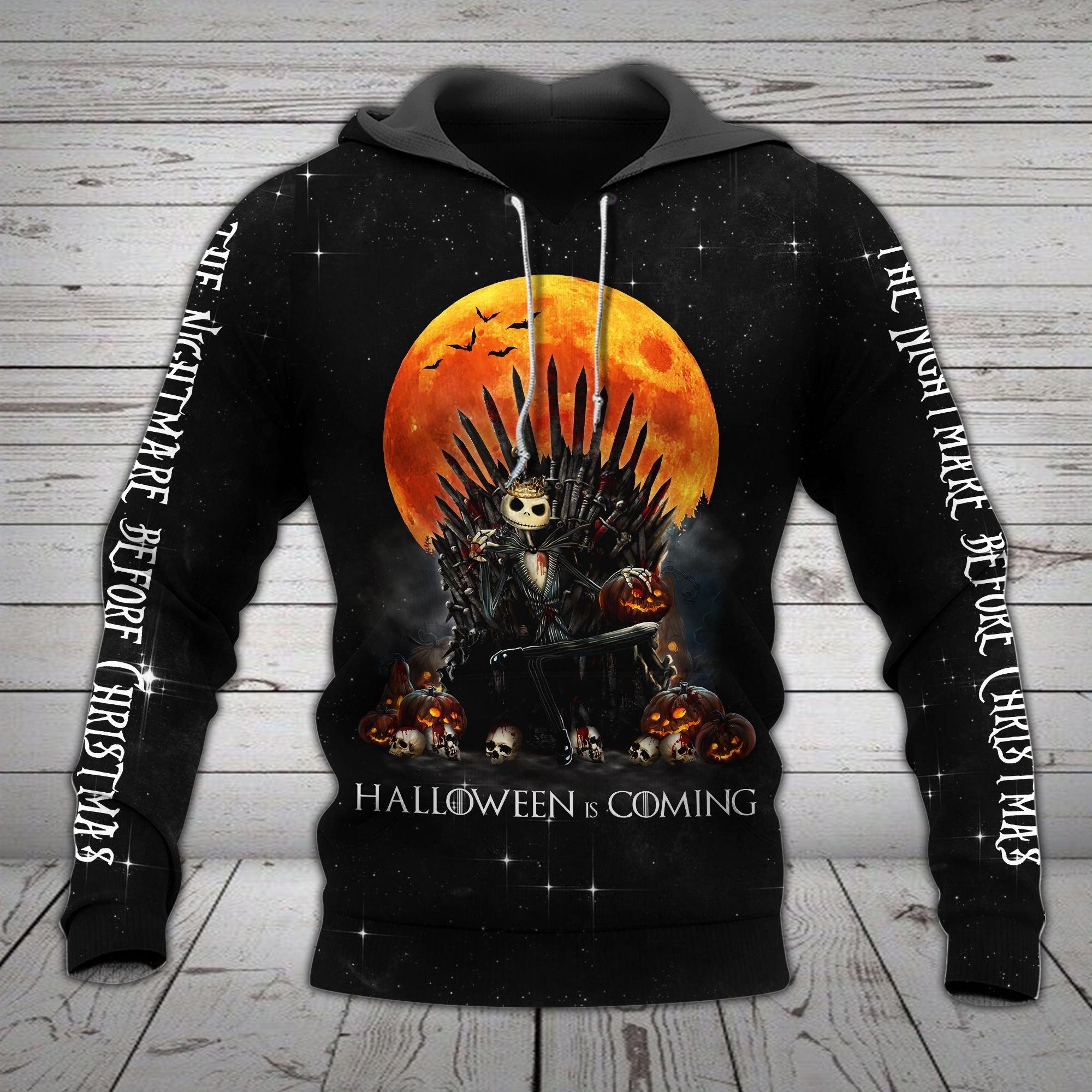 Jack Skellington Game of Thrones halloween is coming 3d hoodie1