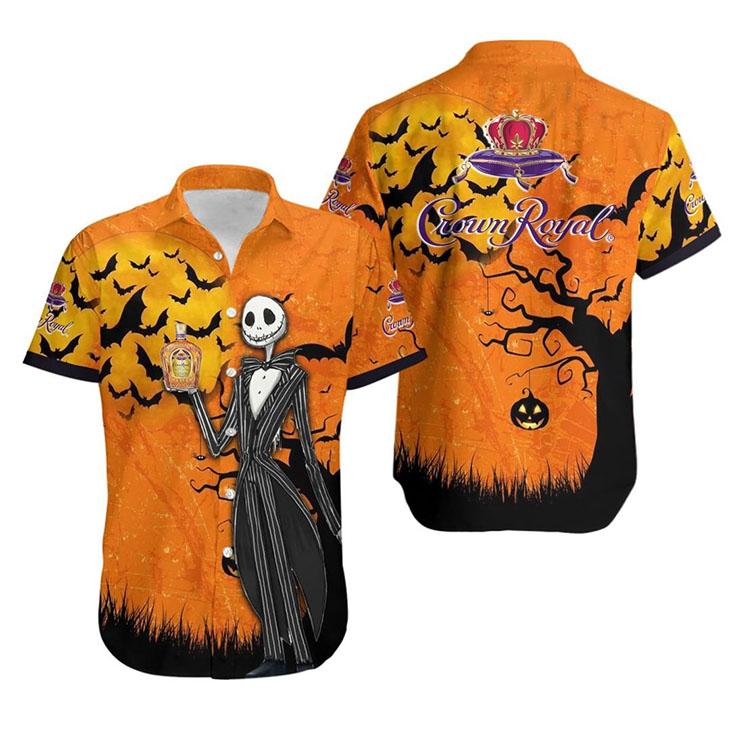 Jack Skellington Halloween Crown Royal Hawaiian Shirt