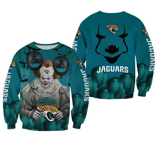 Jacksonville jaguars pennywise the dancing clown it halloween 3d all over print hoodie3