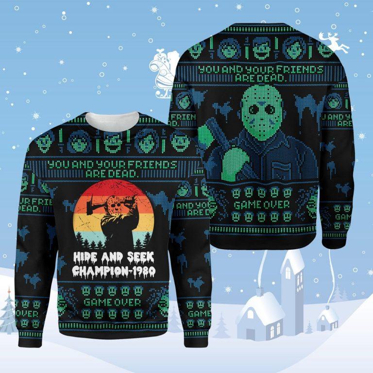 Jason Voorhees hide and seek champion 1980 Ugly Christmas Sweater 1