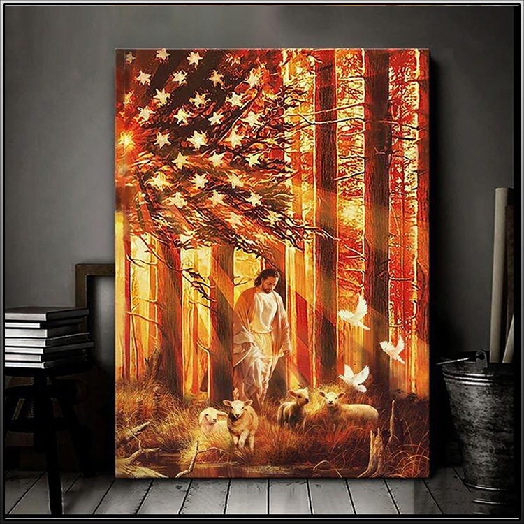 Jesus Walking With The Lambs Canvas1