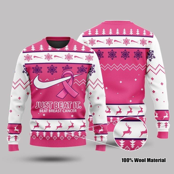 Just Beat It Beat Breast Cancer 3d Sweatshirt