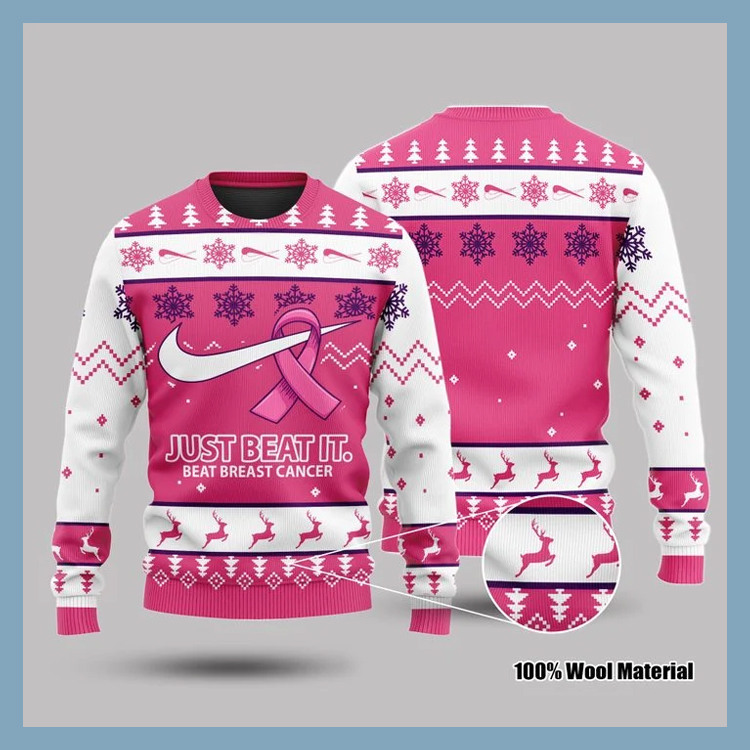 Just Beat It Beat Breast Cancer 3d Sweatshirt1