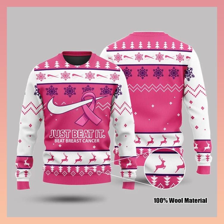 Just Beat It Beat Breast Cancer 3d Sweatshirt2