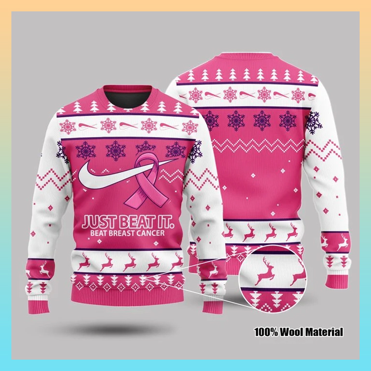 Just Beat It Beat Breast Cancer 3d Sweatshirt3