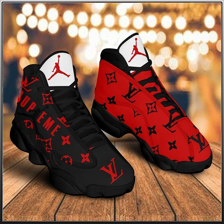 L V Black Red Luxury Jordan 13 Shoes 1