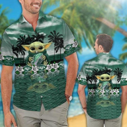 26 New York Jets And Baby Yoda Hawaiian Shirt Short 1