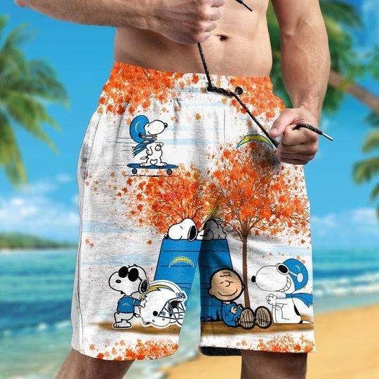 Los Angeles Chargers Snoopy autumn hawaiian shirtshort2