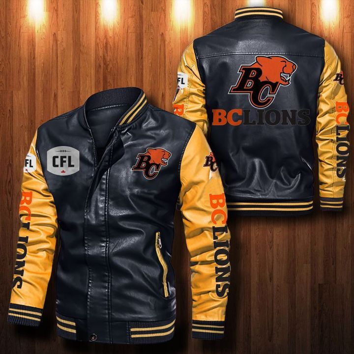 Bc Lions Leather Bomber Jacket 3