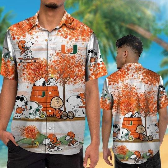 Miami hurricanes Snoopy autumn hawaiian shirtshort