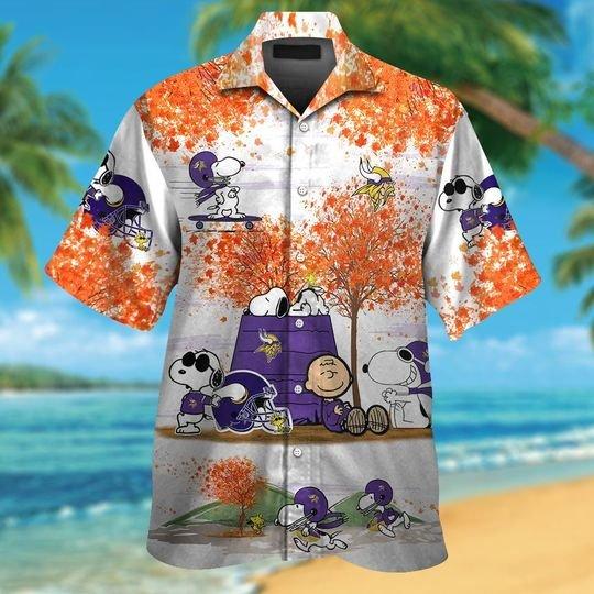 Minnesota vikings Snoopy autumn hawaiian shirtshort1